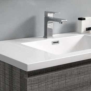 """72"""" Glossy Ash Gray with Medicine Cabinet and Sink Basins"""