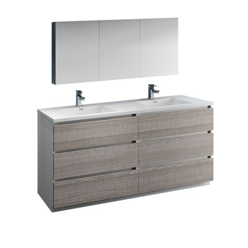 """72"""" Glossy Ash Gray with Medicine Cabinet and Sink Product View"""