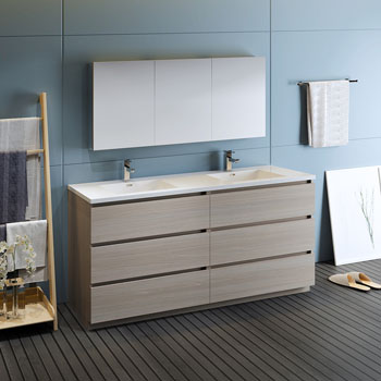 """72"""" Gray Wood with Medicine Cabinet and Sink Side View"""