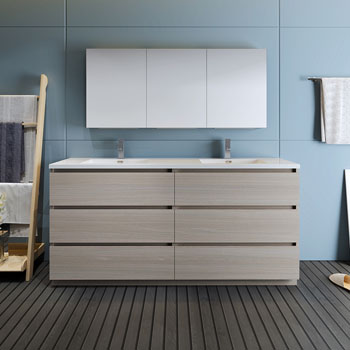 """72"""" Gray Wood with Medicine Cabinet and Sink Front View"""