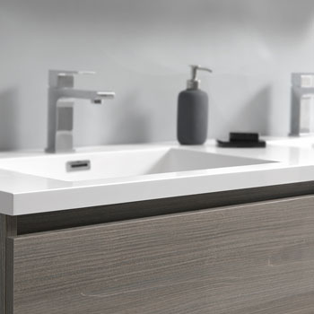 """72"""" Gray Wood with Medicine Cabinet and Sink Close Up"""