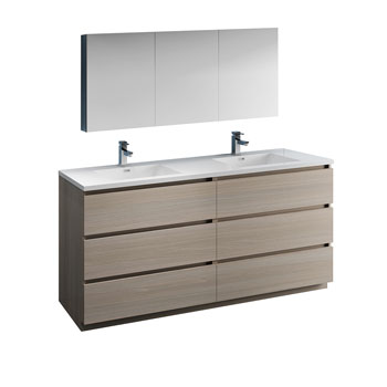 """72"""" Gray Wood with Medicine Cabinet and Sink Product View"""