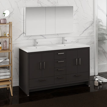 Dark Gray Oak Double Full Vanity Set Side View