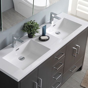Dark Gray Oak Double Full Vanity Set Overhead View