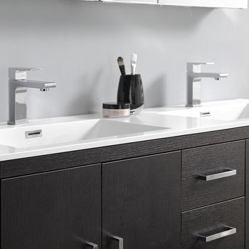 Dark Gray Oak Double Full Vanity Set Edge