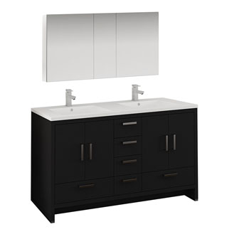 Dark Gray Oak Double Full Vanity Set Product View