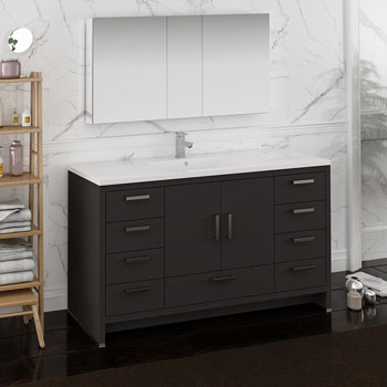 Dark Gray Oak Single Full Vanity Set Side View