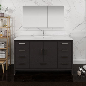 Dark Gray Oak Single Full Vanity Set Front View