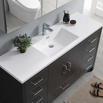 Dark Gray Oak Single Full Vanity Set Overhead View