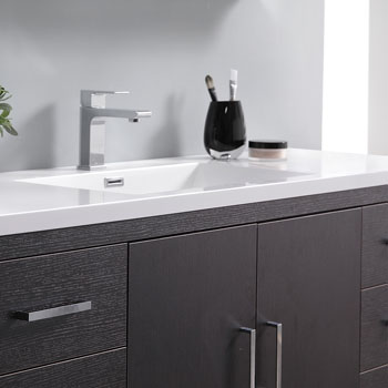 Dark Gray Oak Single Full Vanity Set Handles