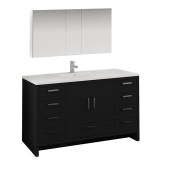 Dark Gray Oak Single Full Vanity Set Product View