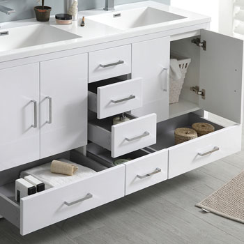 Glossy White Double Full Vanity Set Close Up