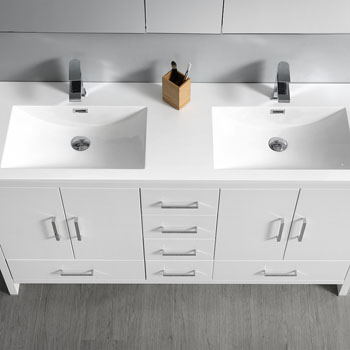 Glossy White Double Full Vanity Set Tiered Drawers