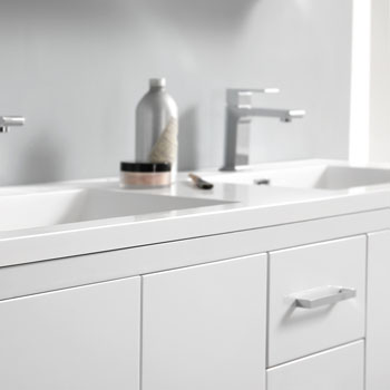 Glossy White Double Full Vanity Set Edge