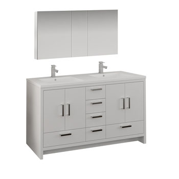 Glossy White Double Full Vanity Set Handles
