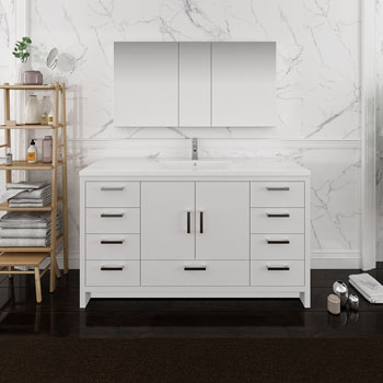 Glossy White Single Full Vanity Set Side View