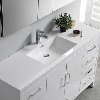 Glossy White Single Full Vanity Set Overhead View