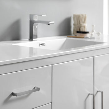 Glossy White Single Full Vanity Set Tiered Drawers