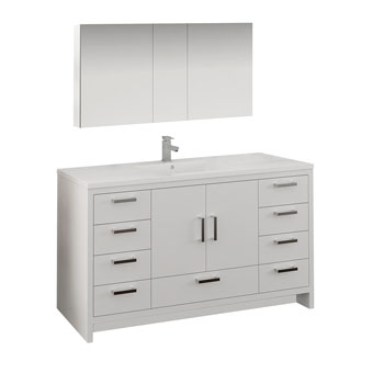 Glossy White Single Full Vanity Set Product View