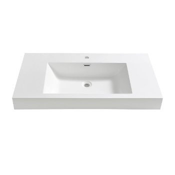 "40"" White Sink / Countertop Front View"