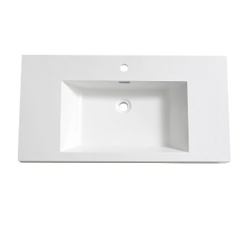"40"" White Sink / Countertop Overhead View"