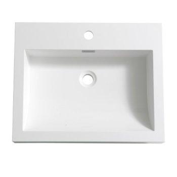"""Fresca Nano 24"""" White Integrated Sink / Countertop, 23-3/8"""" W x 18-3/4"""" D x 3-1/2"""" H"""