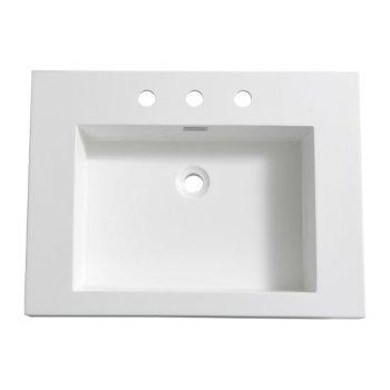 "Fresca Potenza 28"" White Integrated Sink / Countertop, 27-3/8"" W x 20-3/8"" D x 5"" H"