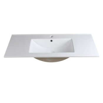 "Fresca Allier 40"" White Integrated Sink / Countertop, 39-3/8"" W x 18-1/4"" D x 5-1/4"" H"