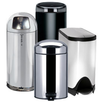 Trash cans free standing built in under cabinet pull for Commercial bathroom trash cans