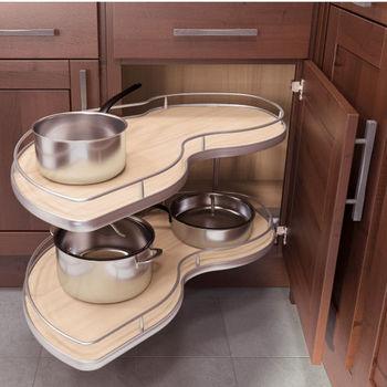 Vauth-Sagel Twin-Corner Scalea Silver Powder-Coated Base Cabinet and Blind Corner Swing-Out System Left Hand 36  (900. & Corner Organizers - Shop for Blind Corner Kitchen Cabinet Optimizers ...