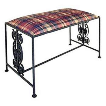 Grace Collection Vineyard Iron Bench in Jade Teal