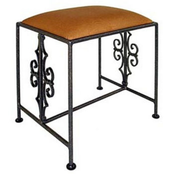 Grace Collection Gothic Curl Iron Bench in Satin Black