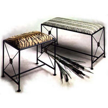 Grace Collection Neo Classic Iron Bench in Stone