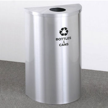 "Single Purpose Half Round Recycling Receptacles with Hinged Lids, 4-7/8"" Opening"