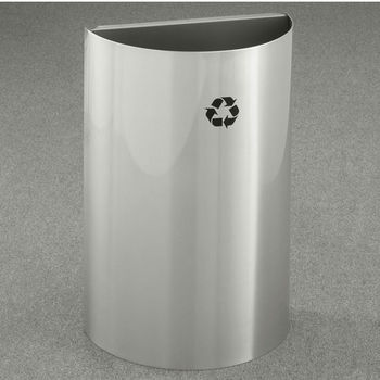 Open Top Half Round Recycling Receptacle with No Lid or Inner Liner