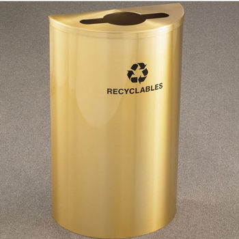 Single Purpose Half Round Recycling Receptacles with Hinged Lids for Mixed Recyclables