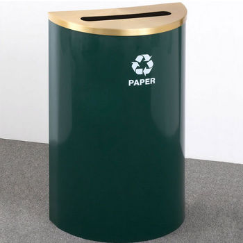 "Single Purpose Half Round Recycling Receptacles with Hinged Lids, 2-1/2"" x 9-1/2"" Opening"