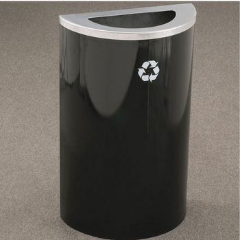 Single Purpose Half Round Recycling Receptacles with Hinged Lids and Half Round Opening