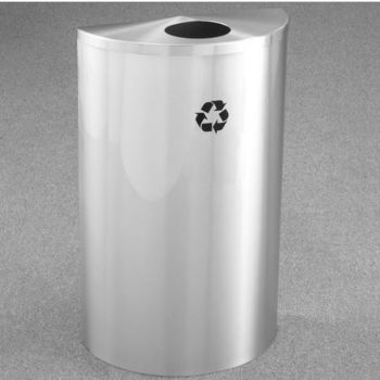 "Single Purpose Half Round Recycling Receptacles with Hinged Lids, 5-1/2"" Opening"