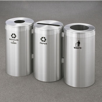 "Glaro 3X RecyclePro Value Series Linear Modular 45 Gallon Capacity Connected Recycling Receptacle Stations, 12"" Diameter Triple Unit (Bottle, Paper and Waste) in Satin Aluminum Finish"