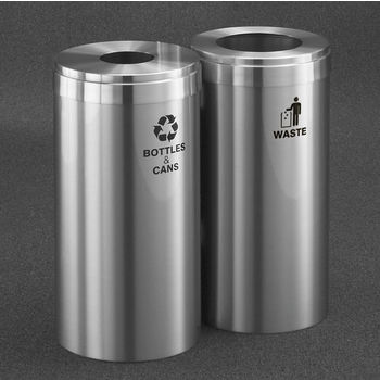 "Glaro 2X RecyclePro Value Series Linear Modular 46 Gallon Capacity Connected Recycling Receptacle Stations, 15"" Diameter Dual Unit (Bottle and Waste) in Satin Aluminum Finish"