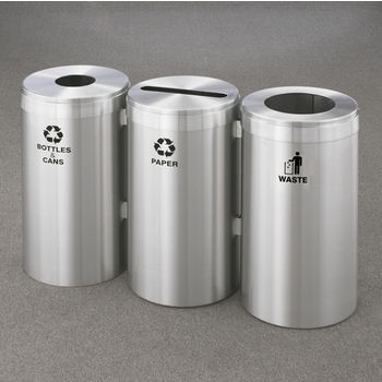 "Glaro 3X RecyclePro Value Series Linear Modular 69 Gallon Capacity Connected Recycling Receptacle Stations, 15"" Diameter Triple Unit (Bottle, Paper and Waste) in Satin Aluminum Finish"