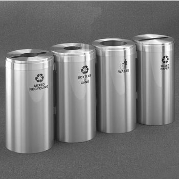 "Glaro 4X RecyclePro Value Series Linear Modular 92 Gallon Capacity Connected Recycling Receptacle Stations, 15"" Diameter Quadruple Unit (Bottle, Paper, Waste and Bottle) in Satin Aluminum Finish"