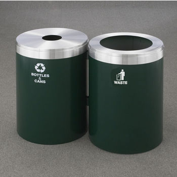 """Glaro 2X RecyclePro Value Series Linear Modular 82 Gallon Capacity Connected Recycling Receptacle Stations, 20"""" Diameter Dual Unit (Bottle and Waste) in Designer Powder Coat Finish"""