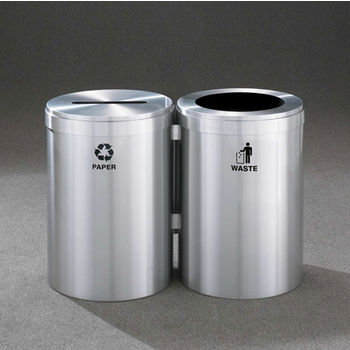 """Glaro 2X RecyclePro Value Series Linear Modular 82 Gallon Capacity Connected Recycling Receptacle Stations, 20"""" Diameter Dual Unit (Bottle and Waste) in Satin Aluminum Finish"""