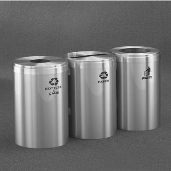"Glaro 3X RecyclePro Value Series Linear Modular 123 Gallon Capacity Connected Recycling Receptacle Stations, 20"" Diameter Triple Unit (Bottle, Paper and Waste) in Satin Aluminum Finish"