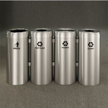 "Glaro 4X RecyclePro Value Series Linear Modular 164 Gallon Capacity Connected Recycling Receptacle Stations, 20"" Diameter Quadruple Unit (Bottle, Paper, Waste and Bottle) in Satin Aluminum Finish"