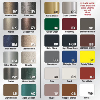 Available Designer Powder Coat Finishes