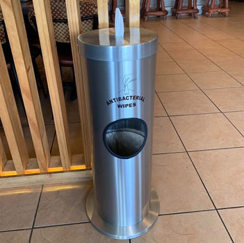 "Glaro Floor Standing 10"" Diameter Waste Bin with Sanitizing Wipe Dispenser Combo (Includes: Silk Screening Disinfecting Wipe Sign and Adapter Bracket) in Satin Black"