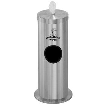 "Glaro Floor Standing 10"" Diameter Waste Bin with Sanitizing Wipe Dispenser Combo (Includes: Silk Screening Disinfecting Wipe Sign and Adapter Bracket) in Satin Aluminum"